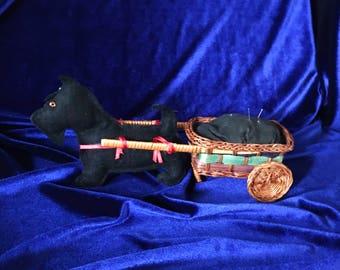 Vintage Scottish Terrier Dog & Cart Pin Cushion