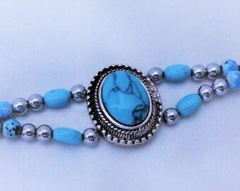 SILVER TURQUOISE MAGNETIC Hematite bracelets.  MagCal pendant. silver hematite 5mm beads.