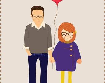 Custom Portrait / Bespoke Squishy Couple / Two Person -  Anniversary / Friendship / Valentine's / Engagement / Wedding - Illustration Print