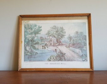 Vintage Currier & Ives Lithograph, The Roadside Mill, Early Americana Print