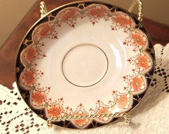 Osborne China ENGLAND...Small Saucer...Rich Colors on White Background...Gold Rim