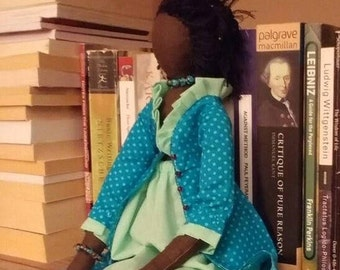 Nubian Princess, wholly natural 48 cm tall doll, beautiful Black African