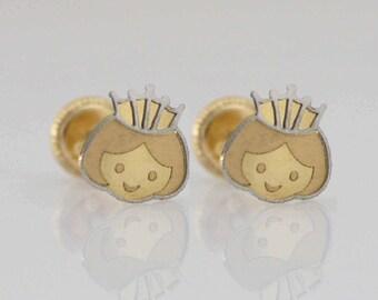 14k Princess Stud Earrings, 14k Gold Princess Earrings, Little Princess Earrings,  Princess Crown Gold Stud Earring, Cute Baby Earrings