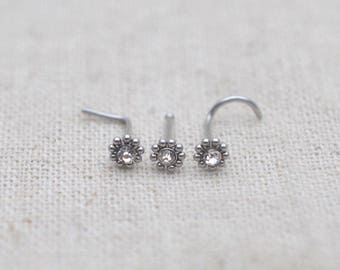 nose ring,nose stud,sunflower nose stud,20g nose ring,gift for her