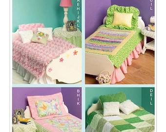 "McCall's 6718, 18"" AG Doll Bedding Pattern, Doll Quilts, Bed pattern, mattress, pillows, dust ruffle, nightstand, tableskirt, lamp, UN-CUT"