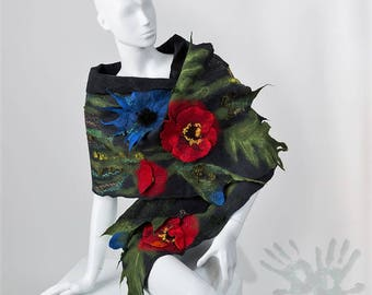 Graphite Shawl with Red Poppies / Nuno felt / Silk Scarf /  Handmade felted scarf / Merino wool / Cornflower / Poppy/ Free shipping.