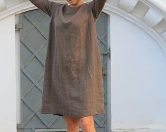Linen dress, Washed linen dress, Linen tunic, Minimal linen tunic, Stone washed linen dress, Linen clothes, Loose dress, Linen