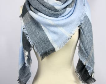 2018 New Plaid Blanket Oversized Tartan Scarf Wrap Shawl Multi Color–Blue Gray Black