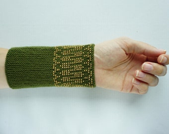 Meadow green and wood coloured beaded wrist warmers/ knitted wristlets with beads / woollen cuffs – ready to ship