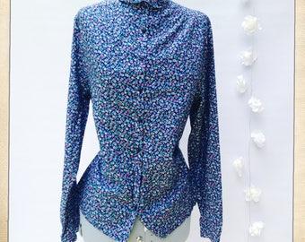 S16/18 Vintage 1970's Shirt M&S Ditzy Blue Green Floral Flower Shirt Blouse Glam Rock