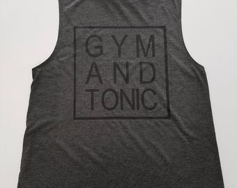 Dark Grey Gym And Tonic Muscle Tank Top, Black And White Gym And Tonic Muscle Tank Top, Workout Tank, Gym Tank Top, Funny Workout Tank