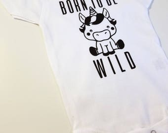 Born To Be Wild Baby Onesie, Baby Unicorn Onesie, Cute Baby Onesie, Going Home Outfit, Baby Shower Gift, Magical Baby Onesie, Wild Child