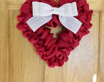 Red Burlap Valentine Wreath, Burlap Wreath, Heart Wreath, Wreath for Front Door, Small Wreath, Spring Wreath, Valentines Day Wreath