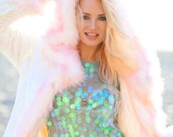 MY PINK DREAM Playa Fur Coat Dragon Scale Reversible Sequence | Burning Man | Playa Jacket | Faux fur coat | Festival Outfit | Boho Coats