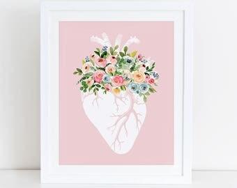Anatomical Heart Art Print, Anatomical Heart Floral Art, Instant Download,  Printable Home Decor, Digital Art Print, Floral Heart Print