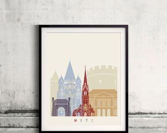 Metz skyline poster - Fine Art Print Landmarks skyline Poster Gift Illustration Artistic Colorful Landmarks - SKU 2504