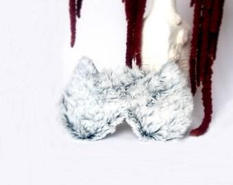 Furry Cat sleep mask - Cute Fluffy Fur kitty eye mask - Pj party favor - Travel mask - fluffy blindfold - Slumber party  eye mask
