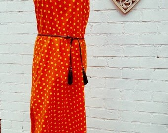 Summer dress size 10 Vintage summer dress in bold retro orange and yellow polka dot fabric