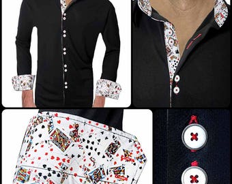 Moisture Wicking Dress Shirts with Playing Card Accent - Made in USA