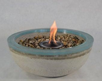 Concrete Fire Bowl   Light Blue Rim | Resin Glazed | Fire Pit | Outdoor U0026