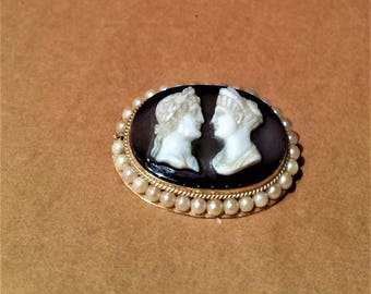 Edwardian 14K Gold, Agate Cameo and Pearl Brooch