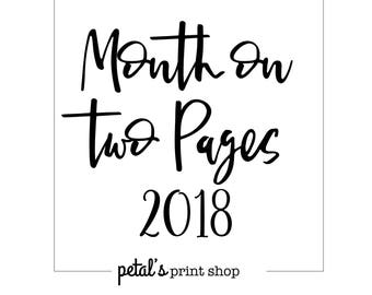 2018 MO2P Month on 2 Pages Traveler's Notebook (7 Sizes: Printed)
