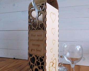 Personalised Wine Bottle Gift Box And Cork Collector, Valentines Gift, Hearts, Laser Cut Ply Wood, With Live Hinge Access, Bottle Holder