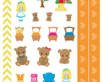 Three Bears - Fairytale, nursery rhyme, Planner Stickers, for Personal, Pocket, ECLP, Kikki.K Filofax, Happy Planner