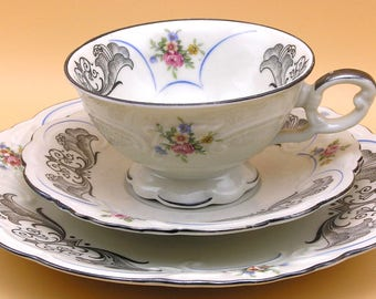 Bareuther Bavaria porcelain china TRIO - 3 piece Luncheon Set - real silver rims & detail