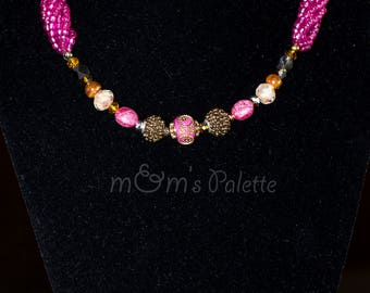 Pink Beaded Necklace Set - Multi Stranded Necklace - Seed Bead Necklace