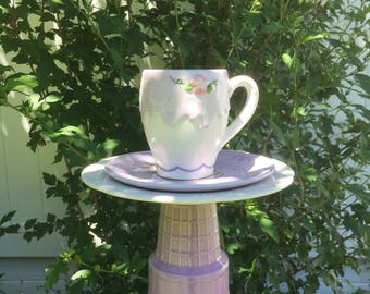 Purple ceramic bird feeder - garden accessories - garden decor - upcycled teacup feeder - butterfly feeder - humming bird feeder - lawn art