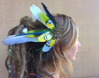 SALE Feather crown *HeadWing* with brass tiara wire and all-natural swan, parrot, macaw & pheasant feathers in white, green and blue