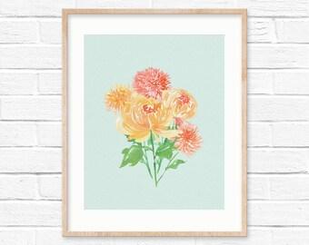 Chrysanthemum art print   watercolor flower   flower illustration   fall illustration   November birthday gift   botanical illustration  