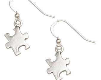 Sterling Silver Jigsaw Puzzle Piece Autism Awareness Earrings on French Wires | Aspergers Jewelry, Autism Spectrum, Autism Awareness Gift