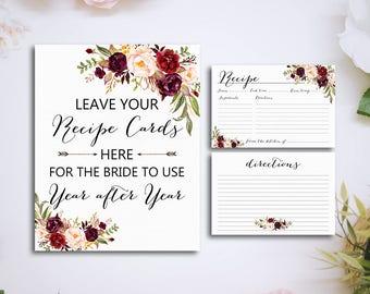 Recipe Card, Bridal Shower Recipe Card Printable, Printable Recipe Card, DIY Recipe Card, Floral Recipe Card, Instant Download - BPF-23