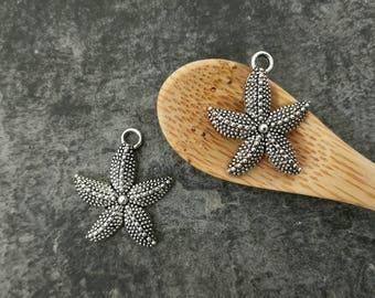 Pendants star of sea, big star, starfish, silver, 22 x 18 mm