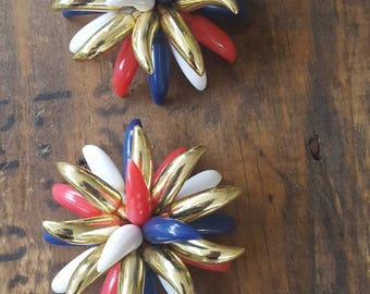 Vintage Red White and Blue with Gold Blossom Earrings, Patriotic Accessory, Fouth of July Jewelry, USA, Americana Jewelry, Clip On Earrings