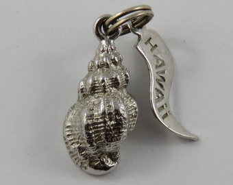 Conch With Hawaii Tag Sterling Silver Vintage Charm For Bracelet