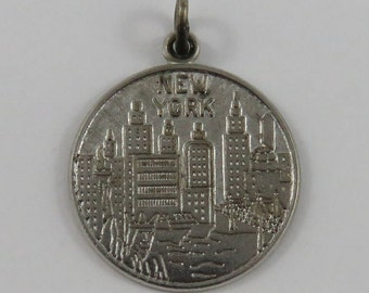 New York Skyline Sterling Silver Vintage Charm For Bracelet