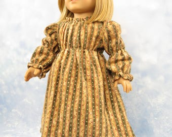18 Inch Doll Clothes Dress Nightgown Tan/Green for American Girl Doll