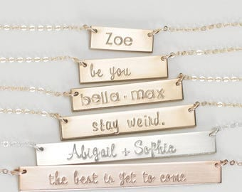 Bar Necklace, Name Bar Necklace Personalized, Personalized Name Plate, Engraved Bar Necklace/Gold, Silver, Gold Rose Gold, Gift for Her/N110