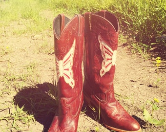 Cowboy Boots Dingo Butterfly Acme Size 8.5