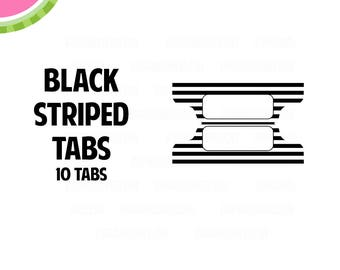 Black STRIPED Tab Stickers    10 Kiss-Cut Stickers   Planner Tabs, Midori Tabs, Bible Tabs, Divider Tabs, War Binder Tabs   LB2324