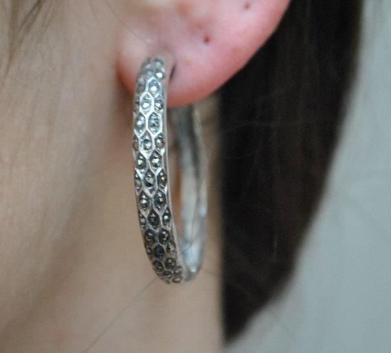 Boucles d'oreilles vintage en marcassite et argent