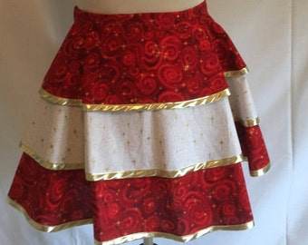 Three tier Christmas apron, size large, which is 18 - 20