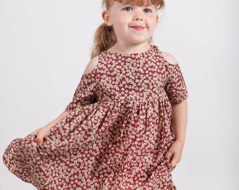 CLEO Liberty Print Cut Out Dress- Girls Handmade Liberty of London Tana Lawn Cold Shoulder Dress, Bridesmaids Flowergirl