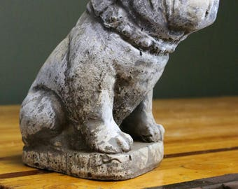 "Antique Bulldog Door Stop Original ""Mack"" Truck Collar Advertising Cement Statue Vintage 10 pound Sculpture Display Sign English Bull Dog"