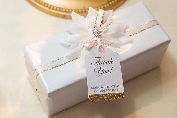 Wedding Favour Gift Tags: Wedding Favor Tags Glitter Thank You Tag Formal Gift Tags