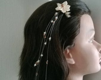 Satin flower barrette hair clip ivory pearls / Brown wedding holiday party child woman girl bridesmaid