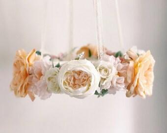 Peach & pink nursery flower mobile, floral crib mobile, baby girl mobile, baby mobile, floral chandelier, nursery mobile, crib mobile